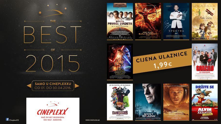 Cineplexx – Najbolji filmovi iz 2015. po sniženim cijenama